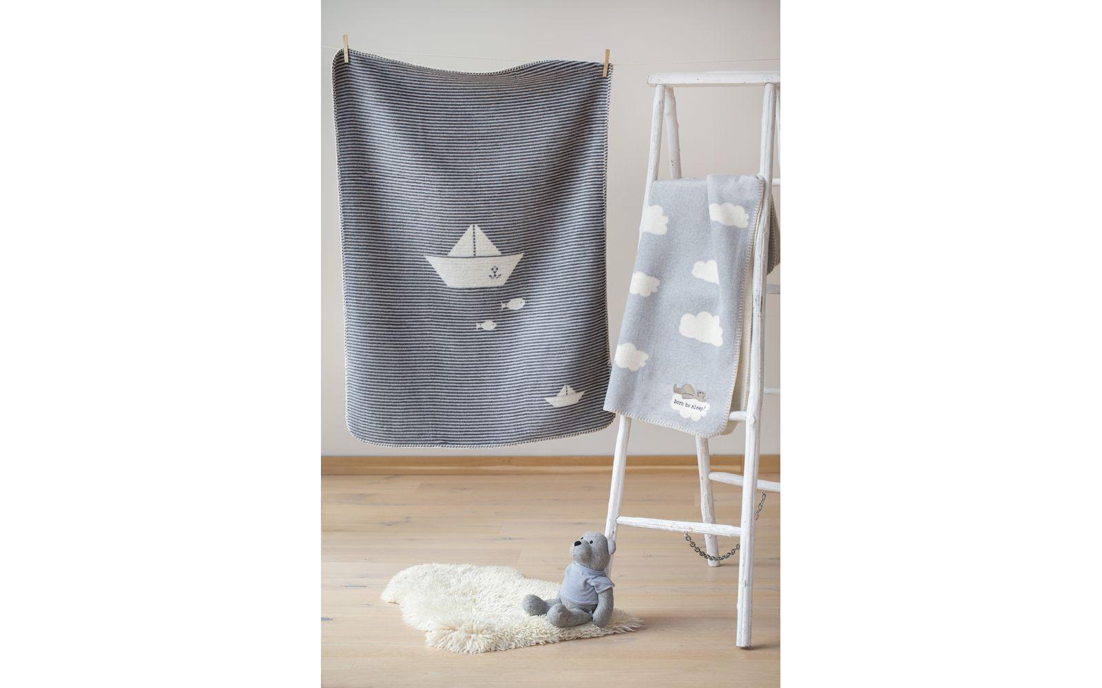 "PANDA baby blanket ""sailboat/stripes"""