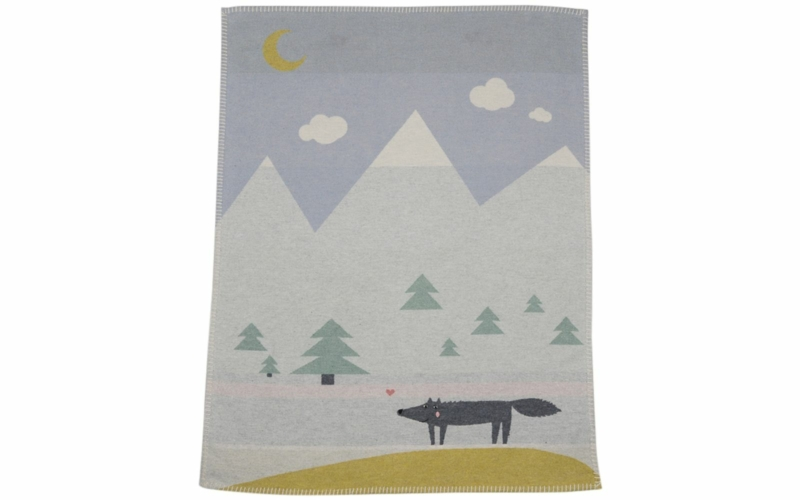 """LILI baby blanket """"wolf"""", embroidered"""