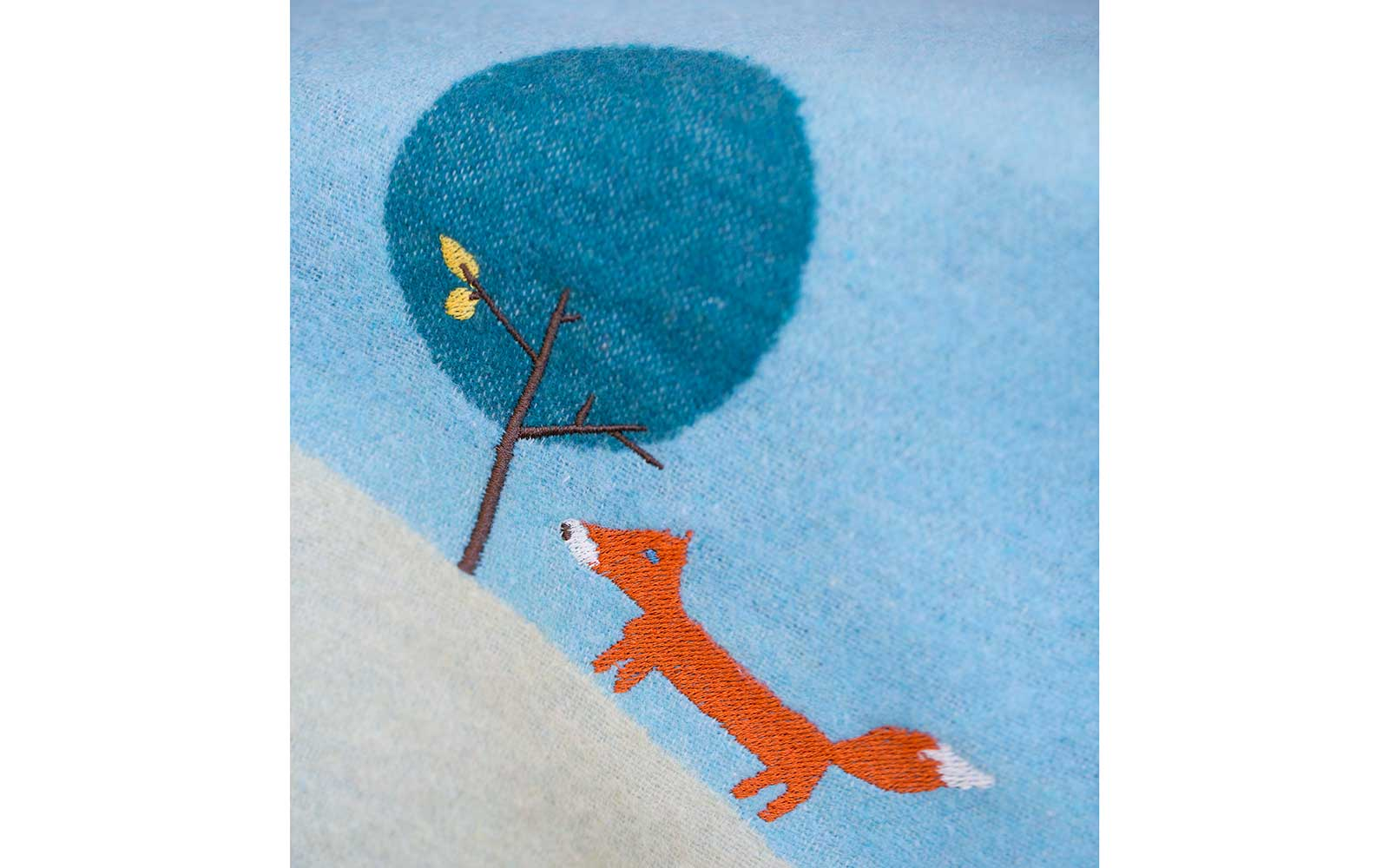 "JUWEL baby blanket ""fox/tree"", embroidered"