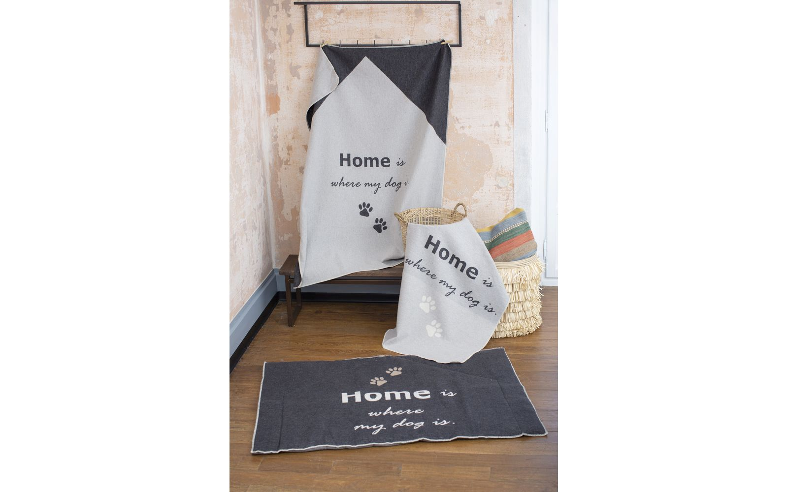 "pet blanket ""home is where my dog is"""