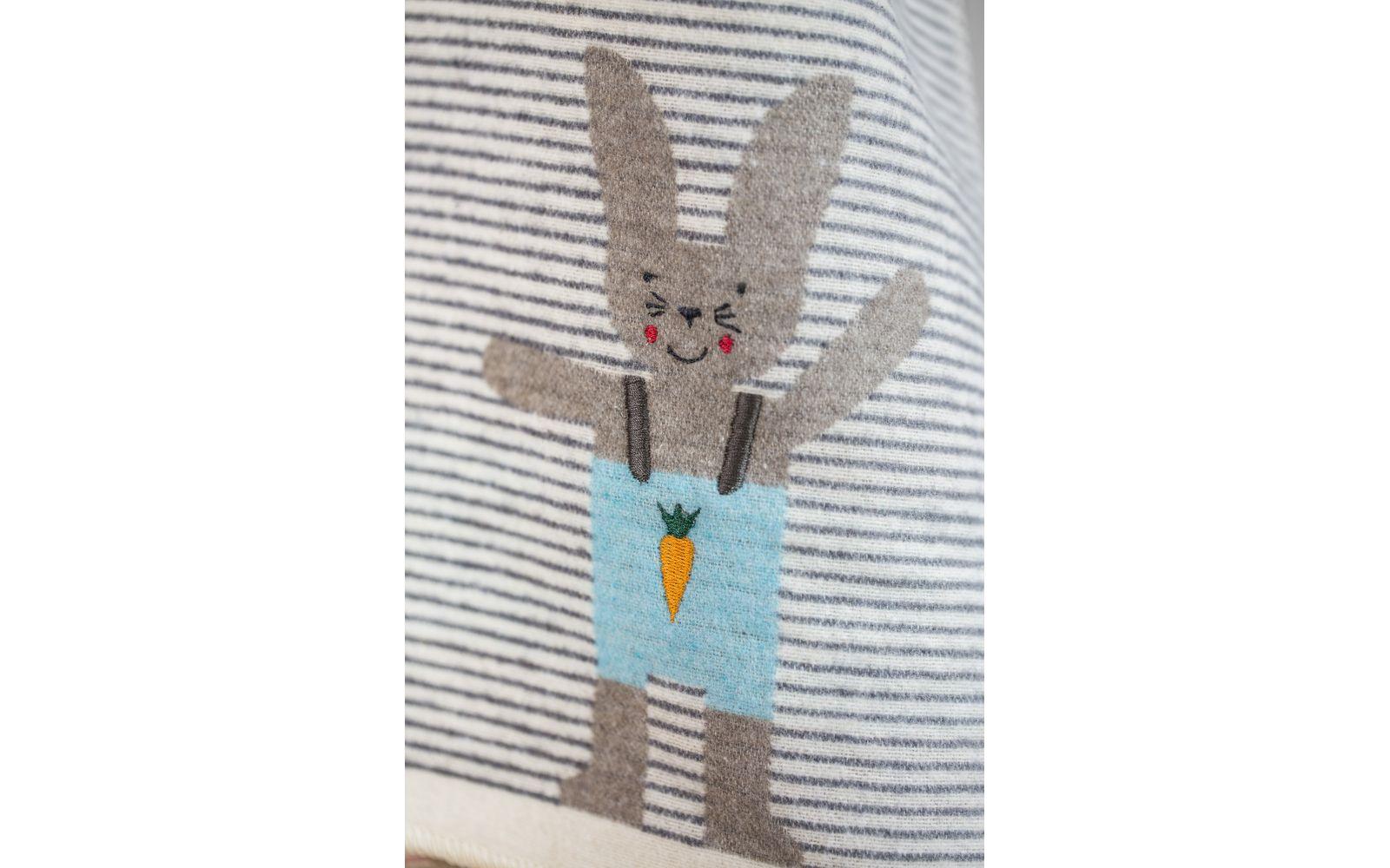 "JUWEL baby blanket ""bunny/stripes"", embroidered"
