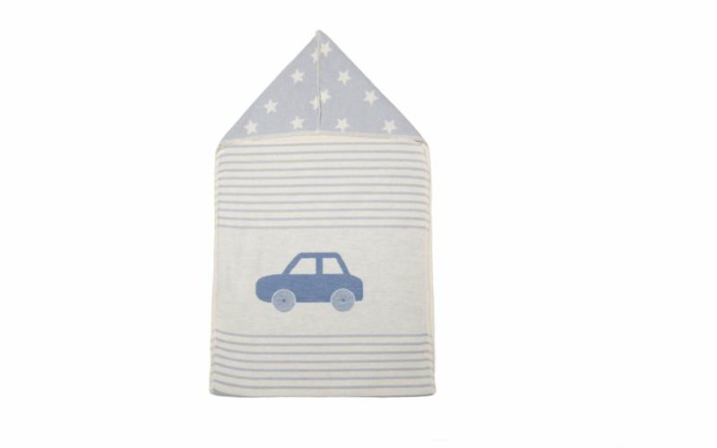 """JUWEL hooded receiving blanket """"car"""""""