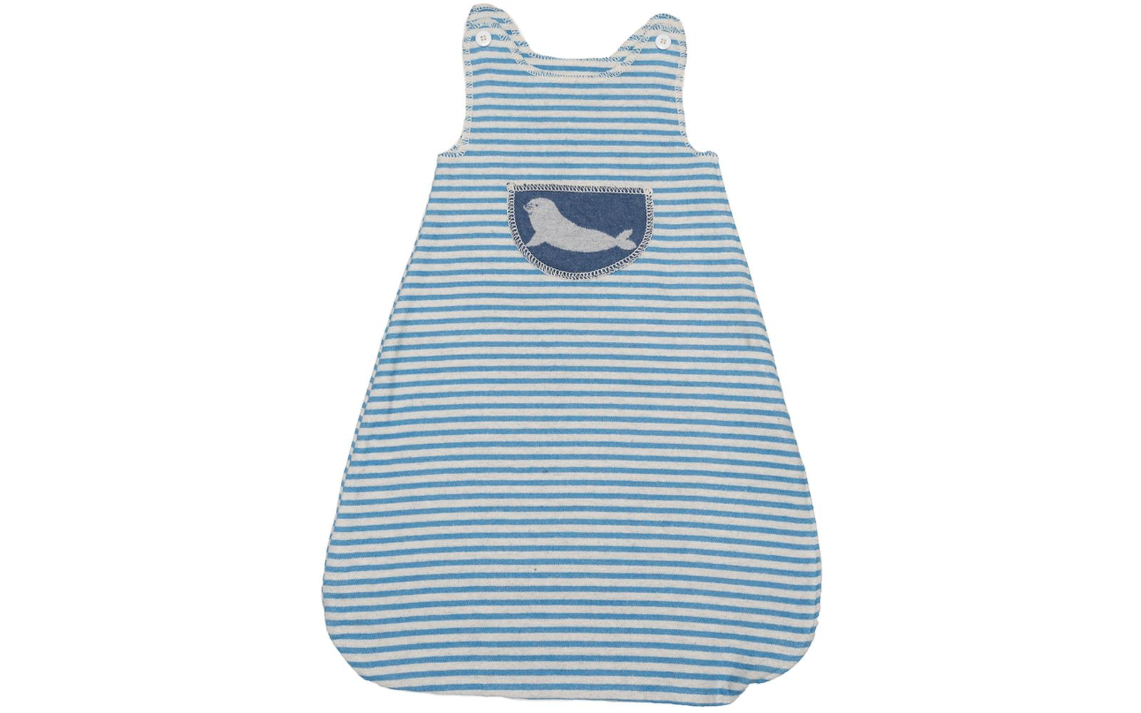 "JUWEL sleeveless bunting ""seal"" up to 1 yr."